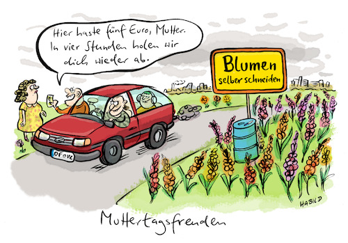 Cartoon: Muttertagsfreuden (medium) by habild tagged muttertag,blumen,geschenk,mutter,kinder,familie