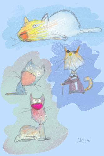 Cartoon: Cats (medium) by Garrincha tagged animals,sketches,cartoons