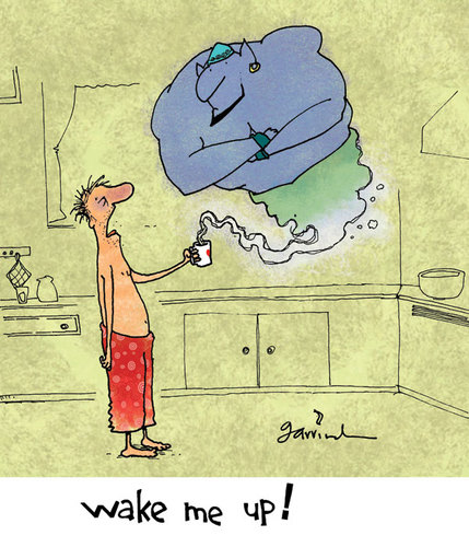 Cartoon: Morning genie (medium) by Garrincha tagged gag,cartoon,garrincha,morning,coffee,genie,lamp