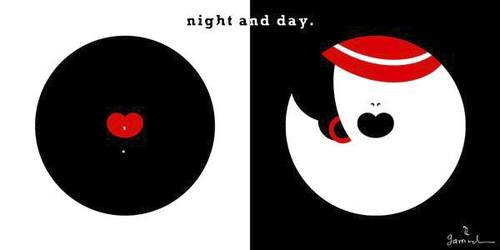 Cartoon: Night and day (medium) by Garrincha tagged women,shapes