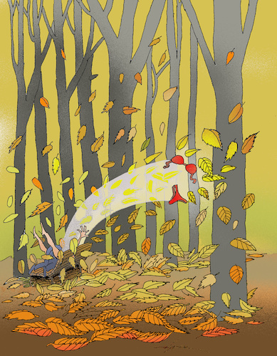 Cartoon: falling leaves and ... (medium) by zluetic tagged time,love