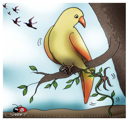 Cartoon: Dont go... (medium) by saadet demir yalcin tagged saadet,syalcin,sdy,turkey,nature,humor,ecology