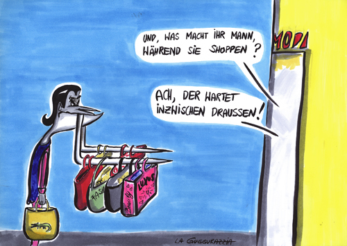 Cartoon: GRAF STAPULA (medium) by LA RAZZIA tagged dracula,shopping,women,shoppintour,hard,core,kaufrausch,mode,fashion,victim
