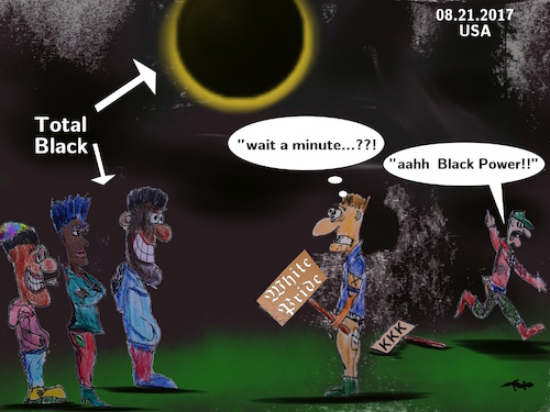 Cartoon: eclipse (medium) by wheelman tagged eclipse,total,dark,black,sun,white,trash,nazi,us,people
