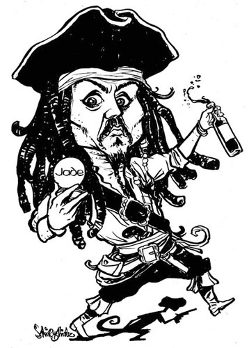 Cartoon: Johnny Depp (medium) by stieglitz tagged johnny,depp,karikatur,caricature,jack,sparrow