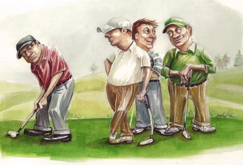 Cartoon: the mouth (medium) by michaelscholl tagged golf,sport,putting,talking
