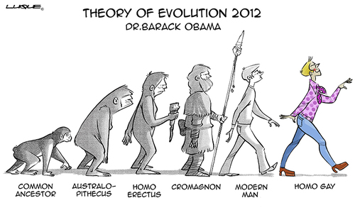 Cartoon: Political Cartoon (medium) by Luis tagged 2012,evolution
