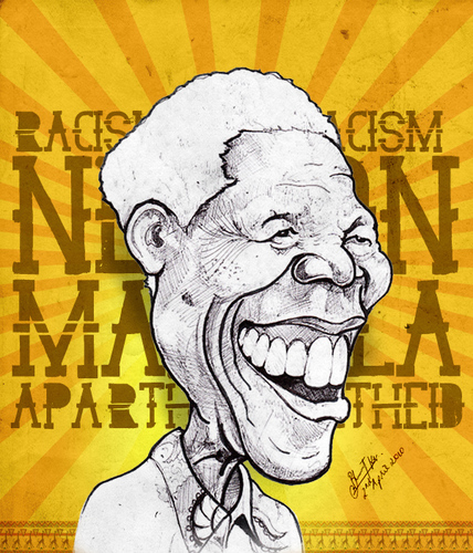 Cartoon: Nelson Mandela (medium) by bharatkv tagged nelson,mandela,racism,apartheid,south,africa,president,caricature,cartoon,bharat,sketch