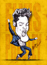 Cartoon: Elvis Presley (small) by bharatkv tagged elvis,presley,king,pop,rockstar,american,caricature,cartoon,sketch,yellow,jailhouse,rock