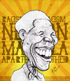 Cartoon: Nelson Mandela (small) by bharatkv tagged nelson mandela racism apartheid south africa president caricature cartoon bharat sketch