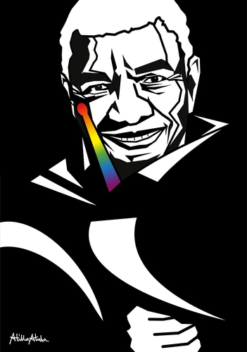 Cartoon: Jack DeJohnette (medium) by Atilla Atala tagged jazz,portrait,rainbow,drums,piano,percussion,melodica,drummer,pianist,composer