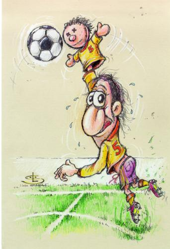 football ball cartoon. Cartoon: Head or hand all