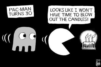 Cartoon: Pac Man at 30 (medium) by sinann tagged pac,man,candles,30th,birthday,anniversary