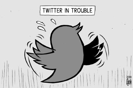 Cartoon: Twitter in trouble (medium) by sinann tagged twitter,trouble,problems,shares,down