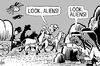 Cartoon: Cowboy aliens (small) by sinann tagged cowboys,aliens,american,indians
