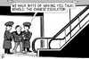 Cartoon: The Chinese Escalator (small) by sinann tagged chinese,escalator,guards,prisoner,talk,interrogation