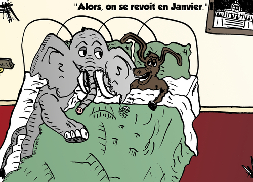 Cartoon: Affaire politique comique (medium) by BinaryOptions tagged democrate,republicain,ane,elephant,dems,gop,politique,compromis,affaires,affaire,fermeture,gouvernement,gouv,dette,capital,capitale,monetaire,option,binaire,negocier,options,binaires,investir,finances,argent,optionsclick,caricature,nouvelles