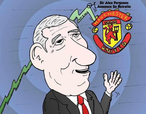 Cartoon: Alex Ferguson caricature (medium) by BinaryOptions tagged boursier,bourse,sport,trading,trader,trade,binaire,option,optionsclick,binaires,options,actualites,nouvelles,infos,news,nyse,stock,annonce,retraite,manager,football,ferguson,alex,united,manchester
