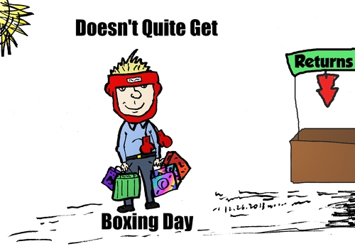 Cartoon: Boxing Day editorial web cartoon (medium) by BinaryOptions tagged boxing,tradition,holiday,exchange,return,shopper,webcomic,cartoon,comic,binary,option,options,trade,trading,optionsclick,financial,business,editorial,news