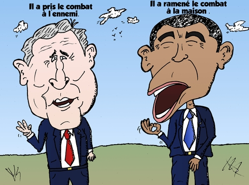 Cartoon: Bush et Obama caricature (medium) by BinaryOptions tagged option,binaire,options,binaires,optionsclick,barack,obama,george,bush,president,guerre,politiques,terreur,terrorisme,news,infos,nouvelles,actualites,caricature,comique,comic,webcomic