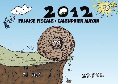 Cartoon: Calendrier maya falaise fiscale (medium) by BinaryOptions tagged option,binaire,optionsclick,trader,tradez,trading,options,binaires,calendrier,maya,falaise,fiscale,caricature,dessin,comique,comics,financier,boursier,economique,future,prevoir,predire