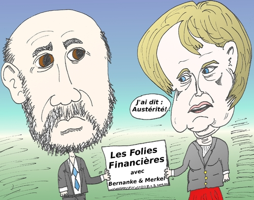 Cartoon: Caricature de Merkel et Bernanke (medium) by BinaryOptions tagged ben,bernanke,angela,merkel,caricature,dessin,comique,comics,optionsclick,trader,trading,tradez,follies,financier,financieres
