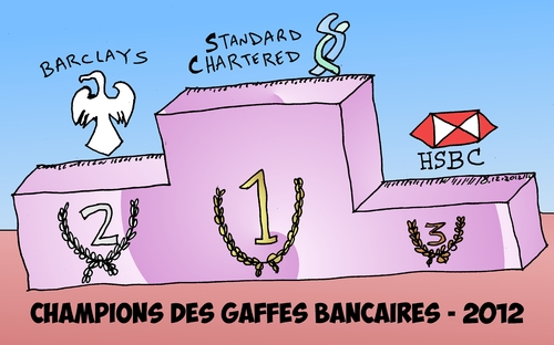 Cartoon: champions des gaffes bancaires (medium) by BinaryOptions tagged option,binaire,trader,options,binaires,trading,news,infos,nouvelles,caricature,dessin,comique,comics,hsbc,barclays,bank,standard,chartered