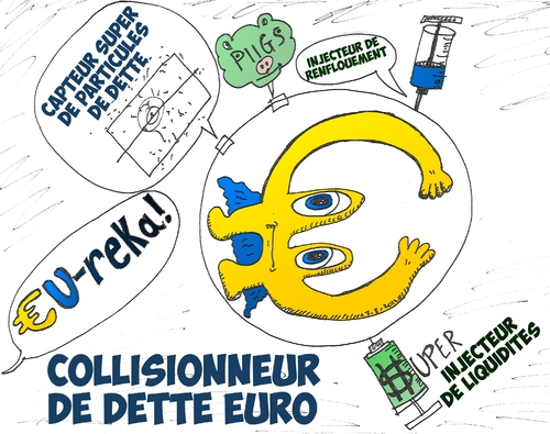 Cartoon: Collisionneur de dette Euro (medium) by BinaryOptions tagged option,binaire,options,binaires,trading,trader,euro,dette,eur,collisionneur,caricature,optionsclick