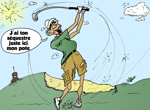 Cartoon: Golf Politique Obama Caricature (medium) by BinaryOptions tagged option,binaire,options,binaires,optionsclick,obama,barack,golf,sport,politique,caricature,comique,webcomique,politicien,finances,budget