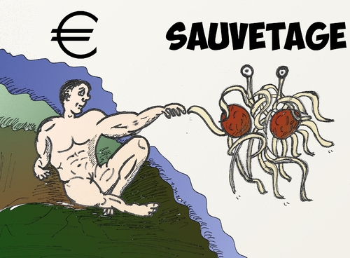 Cartoon: Homme Flying Spaghetti Monster (medium) by BinaryOptions tagged options,binaire,trading,option,binaires,trader,caricature,homme,flying,spaghetti,monster,euro,eur,sauvetage,optionsclick,news,nouvelles,infos,satire