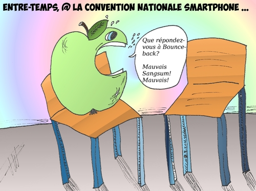 Cartoon: la pomme et la chaise vide (medium) by BinaryOptions tagged optionsclick,trader,tradez,trading,option,options,binaire,binaires,apple,appl,samsung,smartphone,caricature,comics,satire,parodie,la