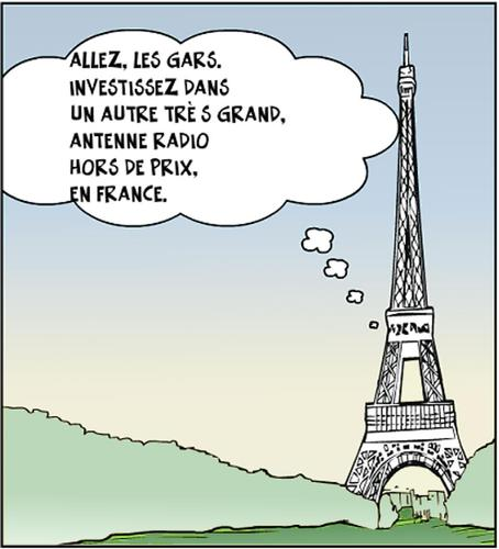 Cartoon: La tour eiffel blague en bd (medium) by BinaryOptions tagged options,binaires,option,binaire,optionsclick,tour,eiffel,caricature,dessin,comique,satire,antenne,investissement,investisseur,investir,france,paris,news,infos,nouvelles,actualites