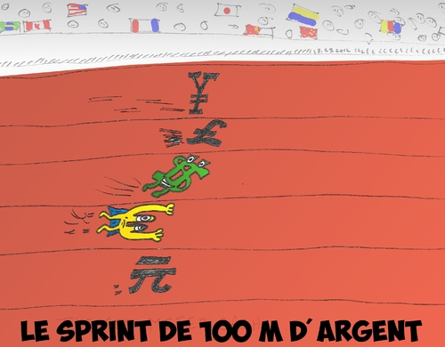 Cartoon: Le sprint de 100 M des argents (medium) by BinaryOptions tagged optionsclick,option,binaire,options,binaires,trading,trader,caricature,forex,monnaie,monnaies,argent,argents,course,sprint,sport,sportif,comique,comics,euroman,eur,usd,jpy,chy,gbp