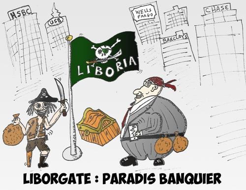 Cartoon: Liborgate et drapeau Liboria (medium) by BinaryOptions tagged libor,liborgate,liboria,cariacture,option,binaire,trader,options,binaires,trading,scandale,pirate,banquier,banques,optionsclick,news,infos,nouvells,financier,boursier