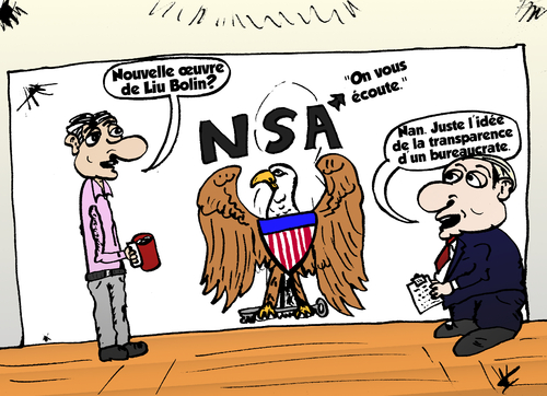 Cartoon: Liu Bolin et le NSA (medium) by BinaryOptions tagged option,binaire,options,binaires,optionsclick,trade,trader,trading,liu,bolin,art,artiste,invisible,espionnage,prisme,nsa,securite,nationale,agence,transparence,caricature,affaire,comic,webcomic,satire