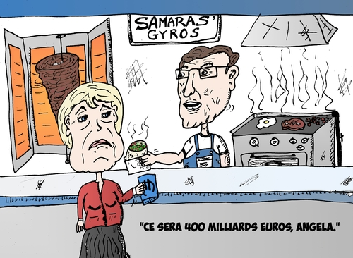 Cartoon: MERKEL et SAMARAS en cariacture (medium) by BinaryOptions tagged angela,merkel,antonis,samaras,allemagne,grec,gyro,grece,euro,eur,zone,union,europeenne,optionsclick,nouvelles,news,infos,actualites,options,binaires,negociation,option,trader,trading,tradez,editoriale,caricature,entreprise,politique