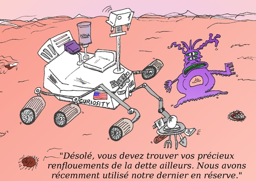 Cartoon: NASA Curiosity sur Mars en BD (medium) by BinaryOptions tagged caricature,nasa,curiosity,satire,extraterrestre,renfloument,nouvelles,news,infos,options,binaires,trading,trader,martien,comique,financier,boursier