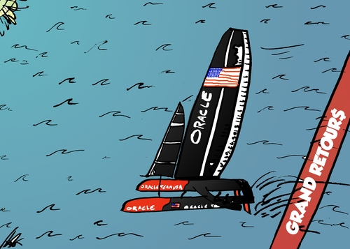 Cartoon: Oracle Team USA gagne la regatte (medium) by BinaryOptions tagged oracle,team,usa,america,cup,catamaran,ac72,sport,investir,commerce,option,binaire,trader,options,investissement,argent,financier,optionsclick,caricature,comique,infos,news,actualites,nouvelles,affaires,politiques