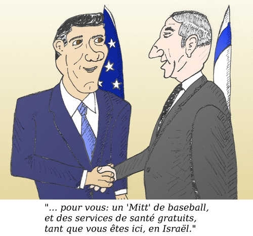 Cartoon: Romney Netanyahu caricature (medium) by BinaryOptions tagged options,binaires,trading,option,binaire,trader,optionsclick,mitt,romney,binyamin,bibi,netanyahu,caricature,dessin,comique,comics,news,nouvelles,infos,financier,boursier,investisseurs