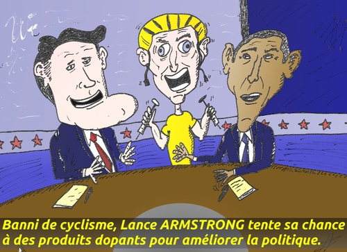 Cartoon: Romney Obama Armstrong en BD (medium) by BinaryOptions tagged mitt,romney,barack,obama,lance,armstrong,sportif,president,debat,seringues,presidentielles,infame,disgrace,honteuse,cycle,cyclisme,caricature,politique,editoriale,affaires,dessin,anime,comique,optionsclick,trader,option,binaires,negociation,options,nouvelles,news,infos,actualites,satire,commerce