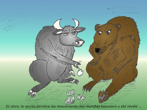 Cartoon: Taureau et Ourse en caricature (medium) by BinaryOptions tagged option,binaire,trader,options,binaires,trading,optionsclick,ourse,taureau,pomme,argent,caricature,comique,comics,boursier,affaires,financier,investisseurs,investir