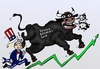 Cartoon: Bull market tramples Uncle Sam (small) by BinaryOptions tagged binary,option,options,trade,trader,trading,optionsclick,bull,market,trample,uncle,sam,dow,jones,djia,industrial,average,capita,income,jobs,caricature,editorial,financial,news,business,cartoon,webcomic