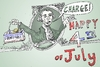 Cartoon: GW Charge on Independence Day (small) by BinaryOptions tagged caricature,cartoon,george,washington,july,4th,independence,day,charge,visa,webcomic,optionsclick,binary,options,trading,trader,financial,debt,economics