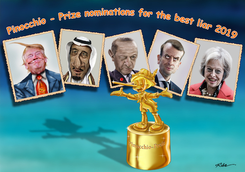 Cartoon: Pinocchio Prize 2019 (medium) by Ridha Ridha tagged pinocchio,prize,2019,cartoon,ridha,donald,trump,france,turkey,recep,tayyip,erdogan,king,of,saudi,arabia,salman,emmanuel,macron,theresa,may,united,kingdom