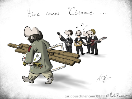 Cartoon: Here Comes Cezanne (medium) by Carlo Büchner tagged kalauer,cezanne,the,beatles,mccartney,lennon,harrison,star,2015,carlo,büchner,arts,ray,cartoon,joke,wortspiel,painter,maler,satire,gag,paul