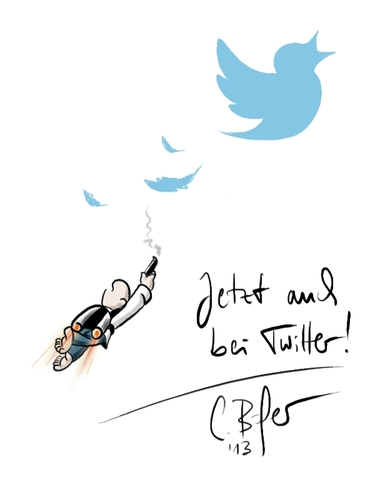 Cartoon: NEU Twitter Account (medium) by Carlo Büchner tagged follow,zeichnung,humor,cartoon,ray,news,arts,büchner,carlo,twitter
