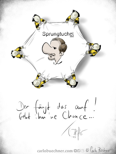Cartoon: Tuchel kommt (medium) by Carlo Büchner tagged tuchel,bvb,klopp,danke,kloppo,trainer,dortmund,watzke,zorc,carlo,büchner,arts,ray,cartoon,borussia,satire,gag,sprungtuch,2015