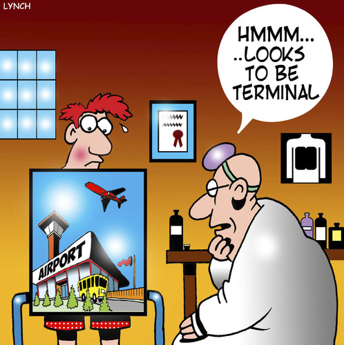 Cartoon: Airport terminals (medium) by toons tagged airports,terminal,disease,terminally,ill,xray,airports,terminal,disease,terminally,ill,xray
