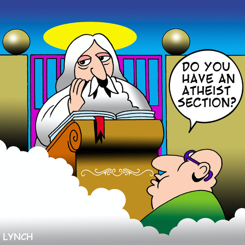 Cartoon: Atheist section (medium) by toons tagged atheist,atheism,god,heaven,hell,afterlife,religion