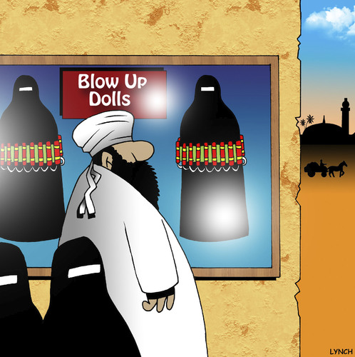 Cartoon: Blow up dolls (medium) by toons tagged suicide,dolls,up,blow,burqa,east,middle,islam,shop,bomber,blow,up,dolls,suicide,bomber,sex,shop,islam,middle,east,burqa
